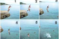 cliff jumping shots