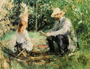 Eugene Manet and their daughter Julie in the Garden: By Berthe Morisot