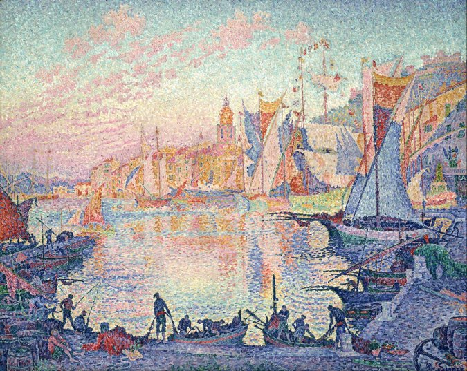Paul Signac paiting of The Port of Saint Tropez - French Riviera seaside villages