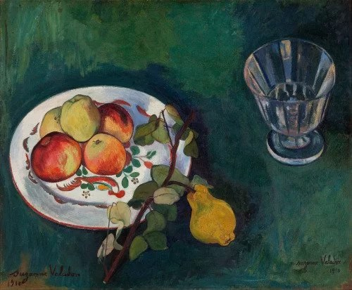 Still Life with Fruit and Glass - Suzanne Valadon painting