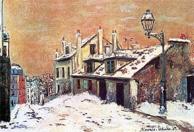 Winter scene in Montmartre - Maurice Utrillo art