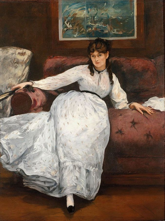 Portrait of Berthe Morisot - Manet Painting