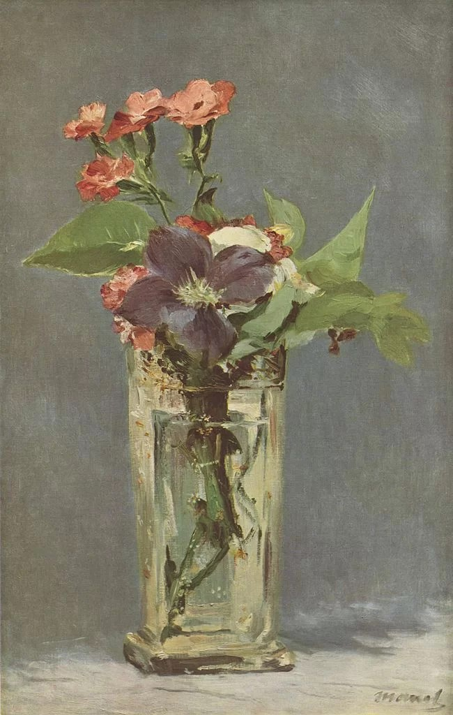A Crystal Vase and flowers- Manet Painting