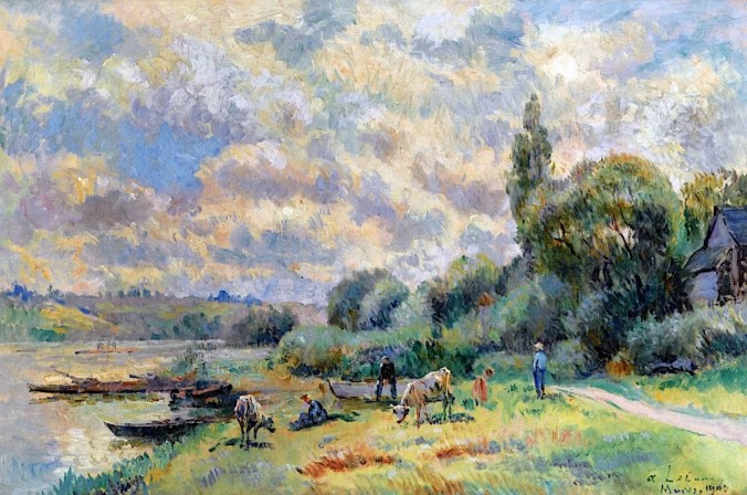 The Banks of the Seine at Muids - Painting by Albert Lebourg