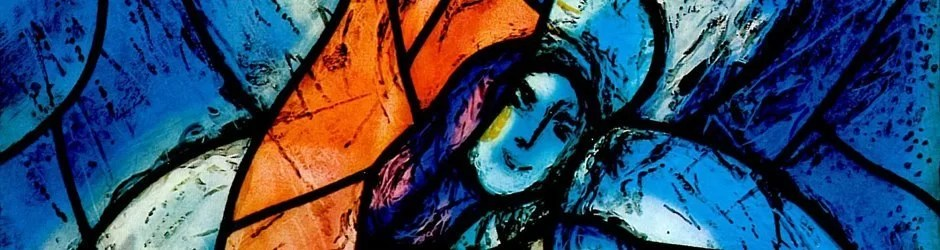 Detail from stained glass window by Marc Chagall in Fraumunster Zurich
