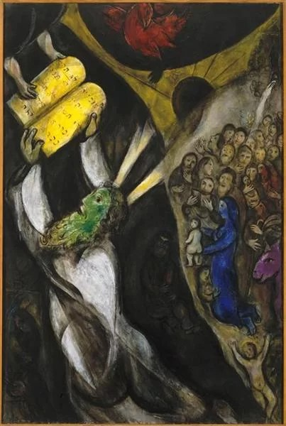 Marc Chagall Painting - Moses receiving the Tablets of Law