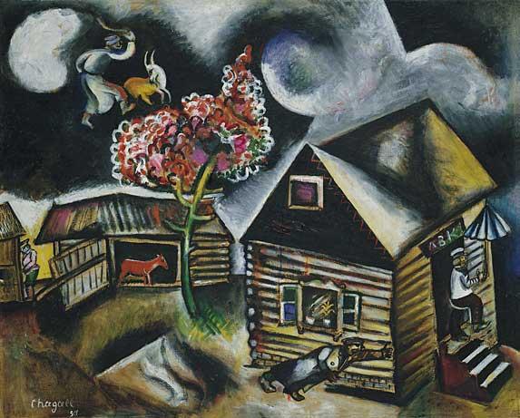 Marc Chagall Painting entitled: Rain - village life in Vitebsk, Belorussia
