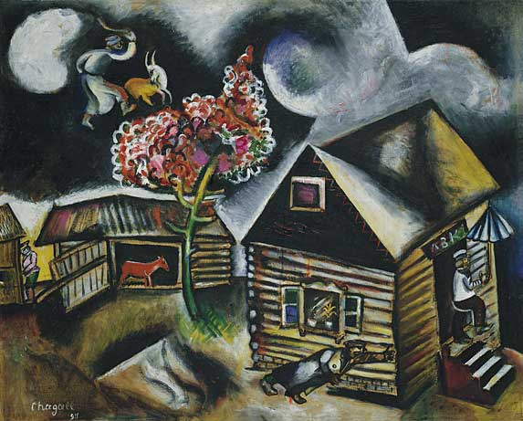 Marc Chagall Painting entitled: Rain - village life in Vitebsk, Belorussia