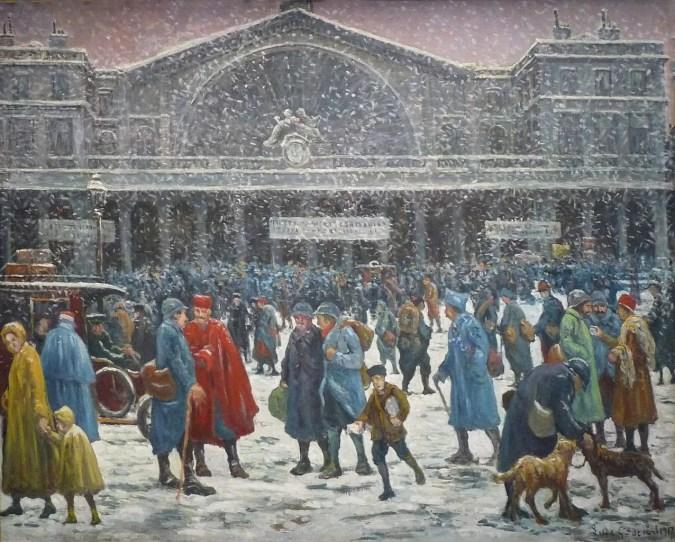 La Gare de l'Est in snow, 1917 -  Maximilien Luce  Painting