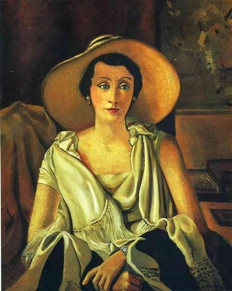 Andre Derain painting- woman wearing a large hat