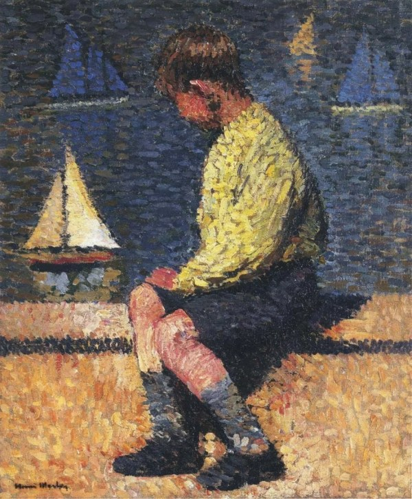 A Boy with Sailboats by the Neo-impressionism Painter Henri Martin [Public Domain]