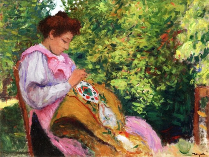 Girl Embroidering, Seated in a Garden - Marquet painting