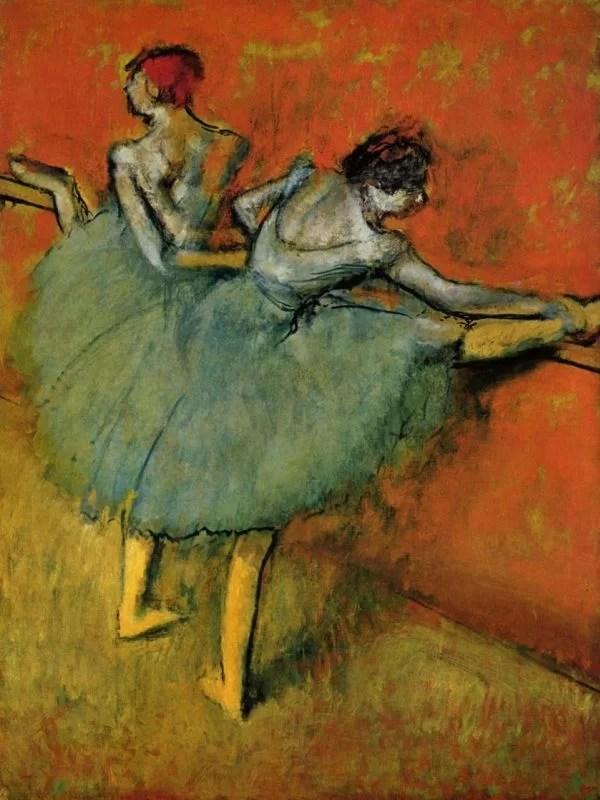 Degas painting of Ballerinas practicing