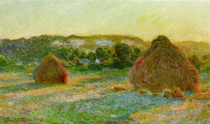 Grainstacks, Giverny – Claude Monet Painting