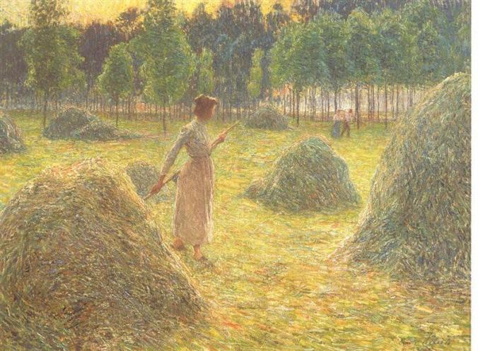 Haystacks - Emile Claus Impressionism Painting