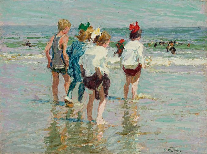 Potthast painting / American Impressionism Art - Summer day at the beach