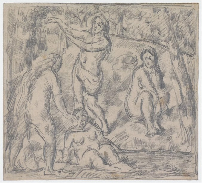 Paul Cezanne drawings -Four women bathing
