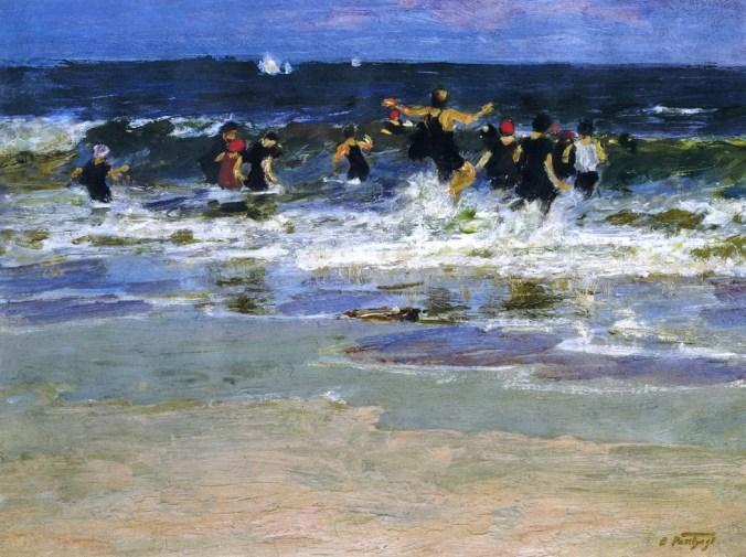 Beach scene -   Edward Henry Potthast impressionism painting