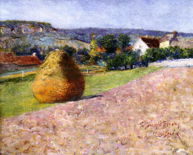 Haystacks in Giverny -  John Leslie Breck impressionism painting