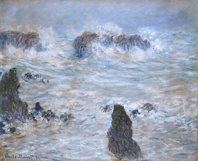 Claude Monet painting- Storm, off the Coast of Belle-Ile 1886