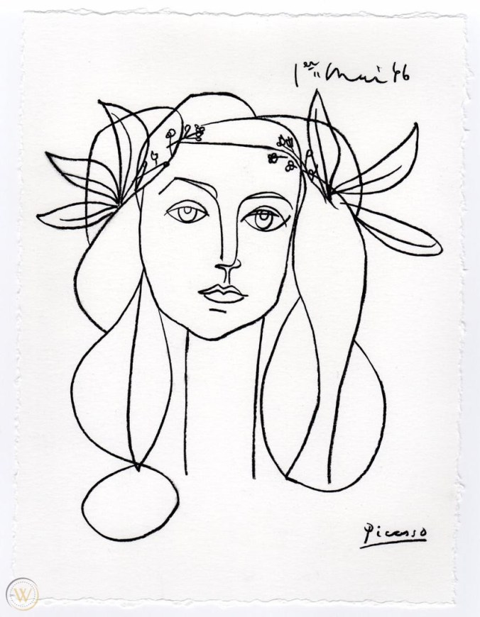 Pablo Picasso drawing of  Francoise Gilot