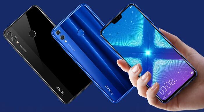 Honor 8X градиентный синий и чёрный цвет
