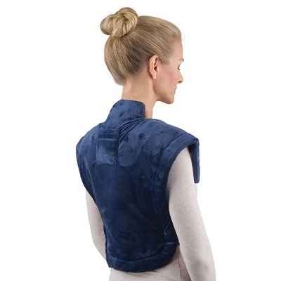 The Cordless Neck and Shoulder Heat Wrap - A cordless heated wrap designed to simultaneously soothe sore muscles in the neck and shoulders
