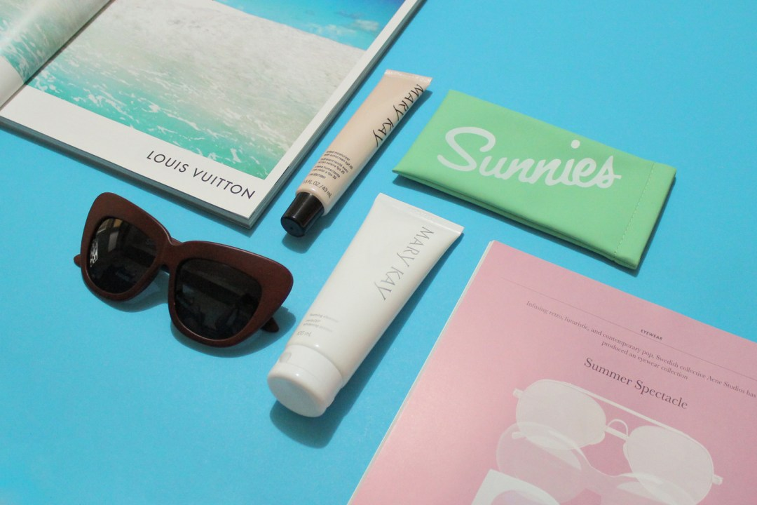 Sunnies by Charlie shades, Mary Kay Tinted Moisturizer, and Mary Kay Melacep Whitening System Foaming Cleanser