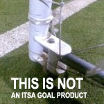 Example of poor design, 'steel hinged folding goal' - NOT an ITSA Goal product