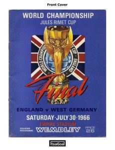 World Cup 1966 Football Programme cover