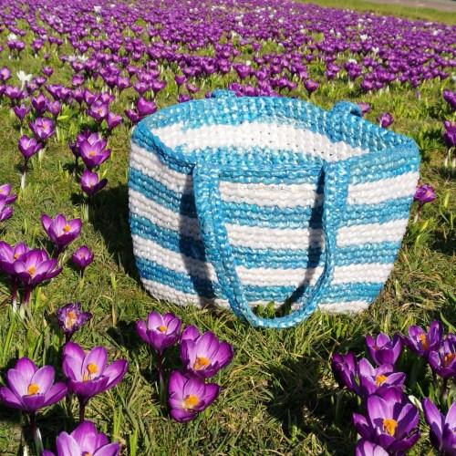 Strandtas blauw plastic recycled eco fairtrade 1121344652102