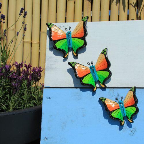 3 oranje vlinders