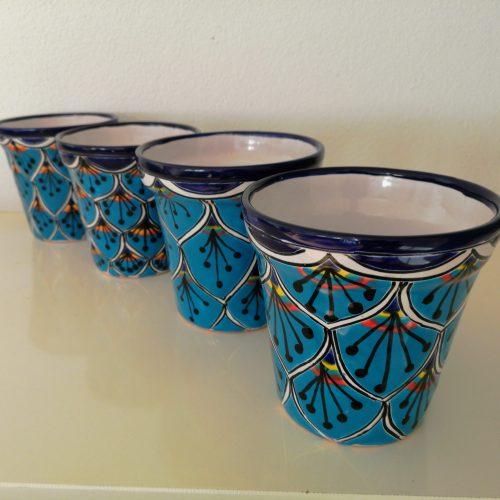 4 blauwe potten