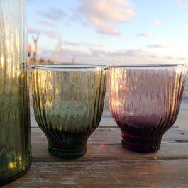 groen en roze loodvrij kristal glas 1