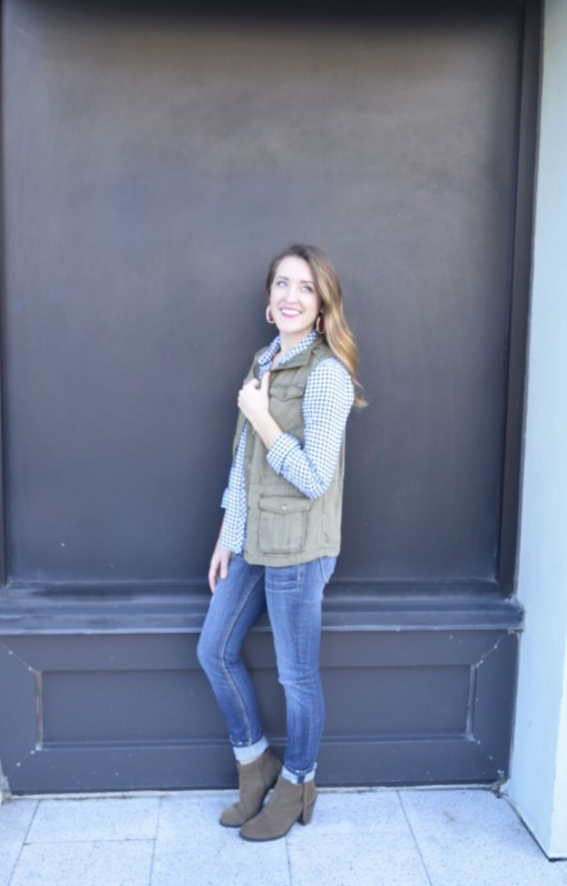 Gingham top, army vest, and booties
