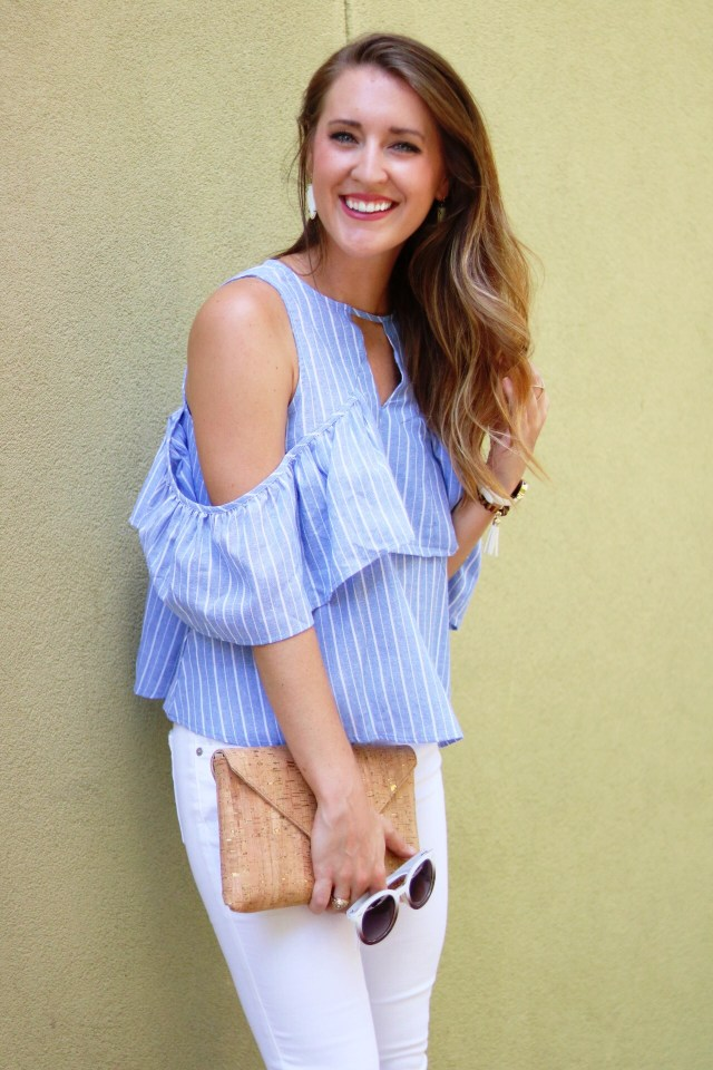 Shein Review | Off the shoulder top + white jeans | Summer Fashion via itsallchictome.com