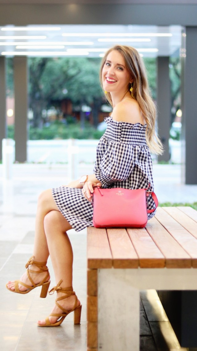 Gingham off the shoulder dress + lace up sandal heels + tassel earrings