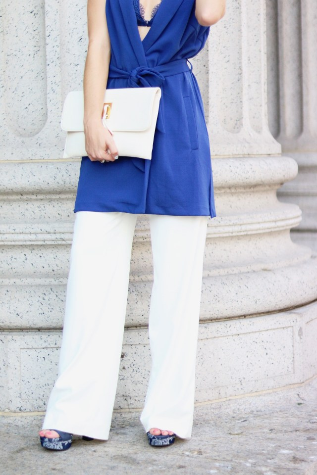 New York Fashion Week street style: Blue vest + wide leg pants