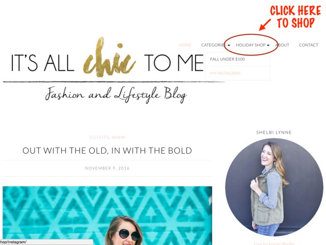 It's All Chic To Me Holiday Shop Page