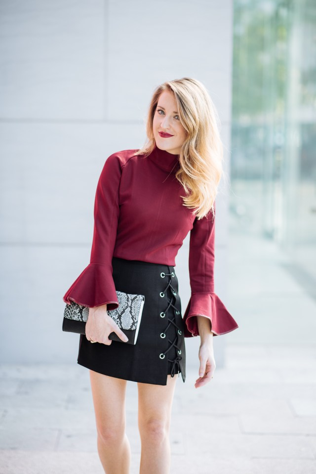 New Year's Eve attire: lace up mini skirt + bell sleeves