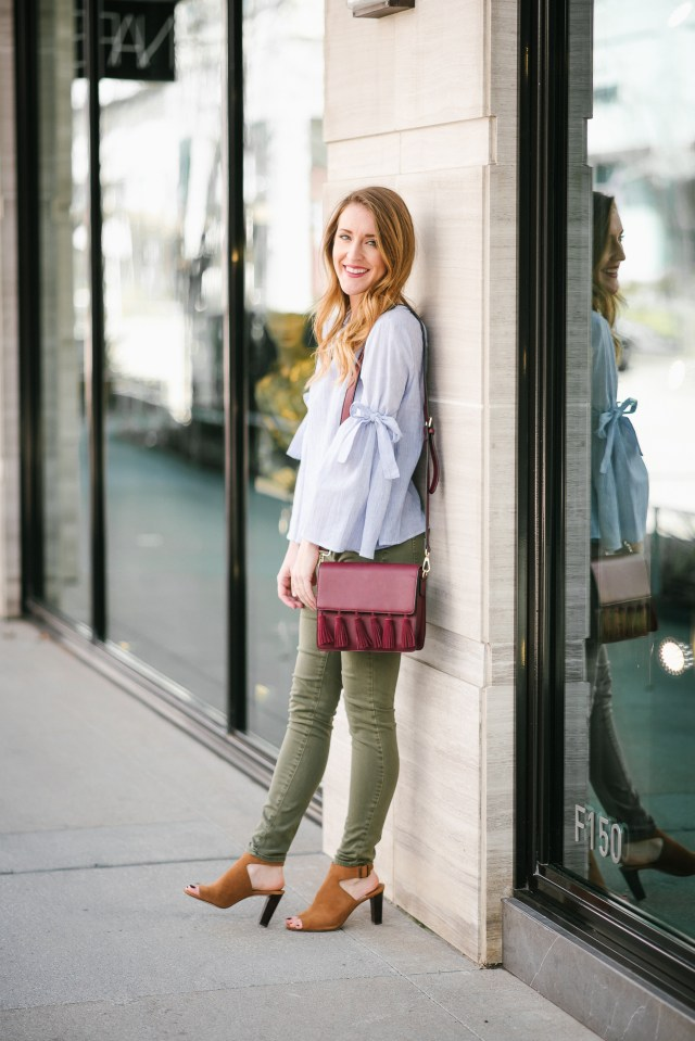 Transitional Style: Bow sleeve top + olive jeans + booties