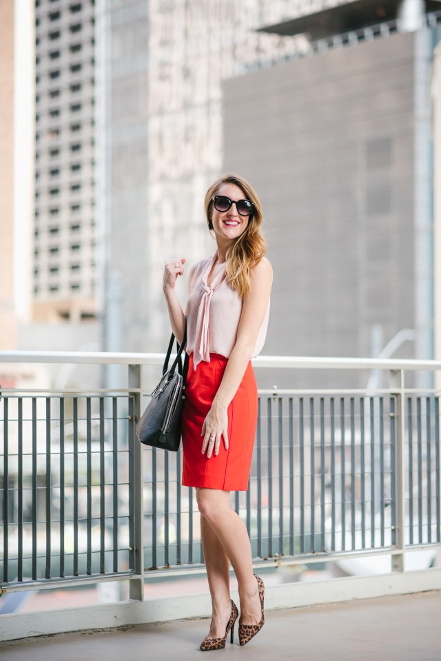 Work Wear Wednesday color blocking, Red and pink work wear, Valentine's Day office style
