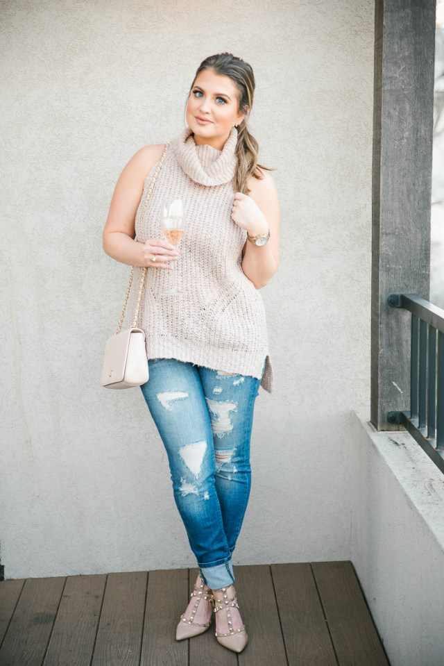 Valentine's Day wear: blush pink sweater + distressed denim + nude pumps