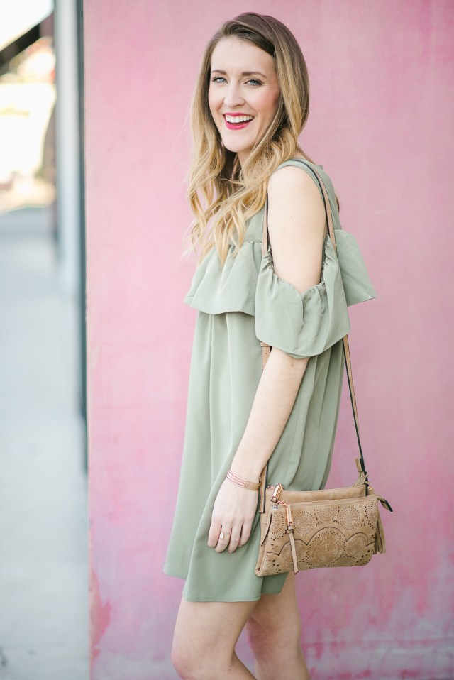 Francesca's Rodeo attire: Cold shoulder dress + cowgirl boots
