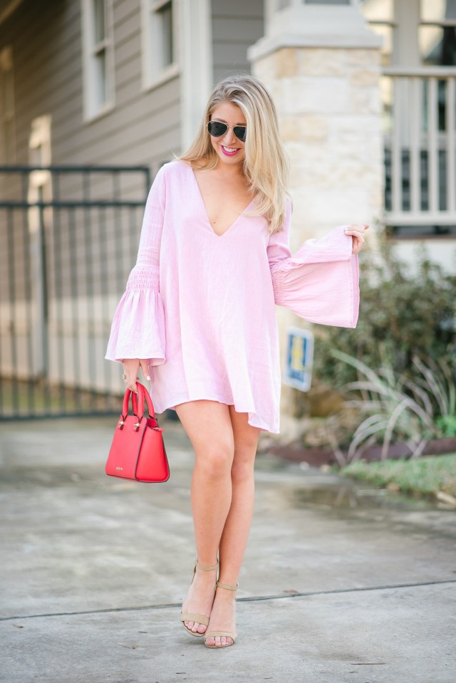 Valentine's Day wear: Pink bell sleeve romper dress + nude heels