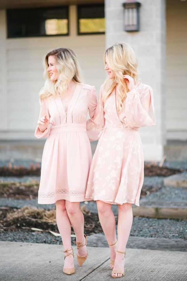 Valentine's Day wear: blush pink dresses + nude heels