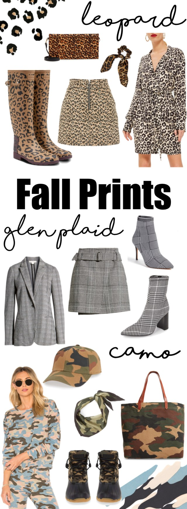 Fall Prints- Camo, Glen Plaid and Leopard