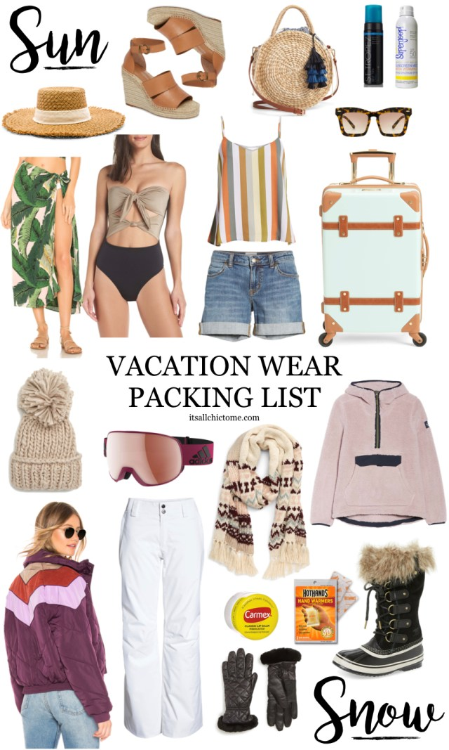 Vacation Wear, Beach Packing List, Snow Packing List