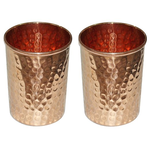 COPPER CUPS (2) AMAZON $21 USD Handmade in India set of 2 hammered tumblers