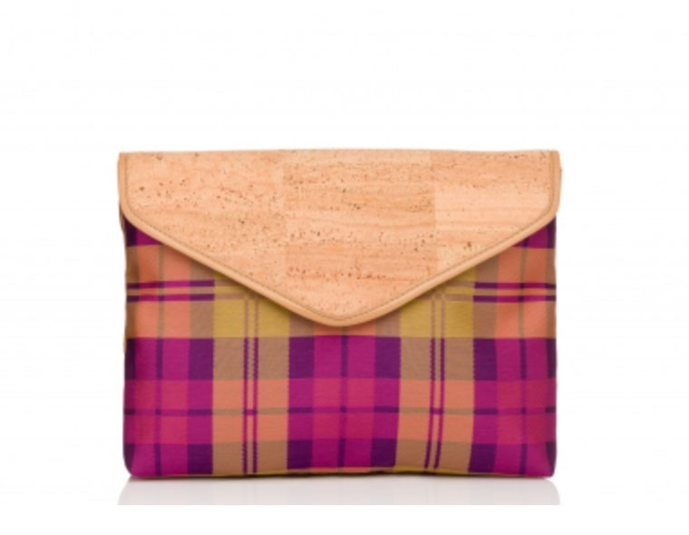 Cork plaid clutch from Pelcor